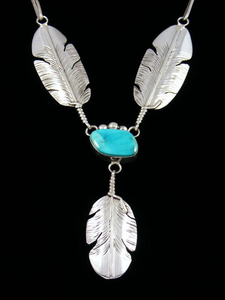 Navajo Sterling Silver Turquoise Feather Necklace