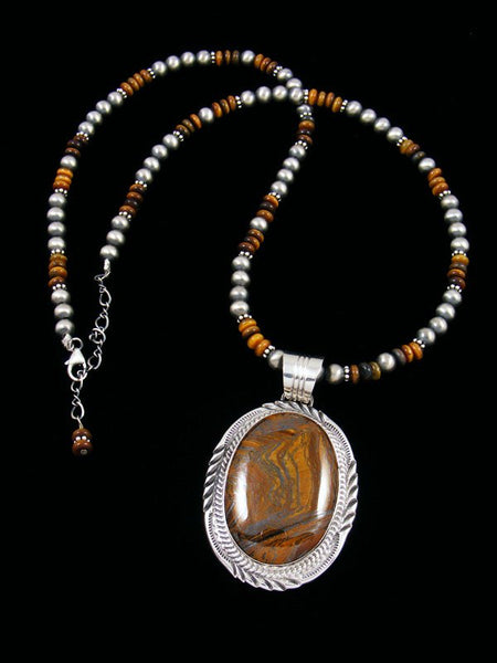 Native American Sterling Silver Tigers Eye Beaded Necklace