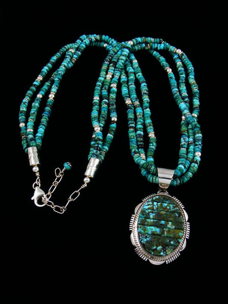 Navajo Kingman Redweb Turquoise Cobblestone Inlay Necklace