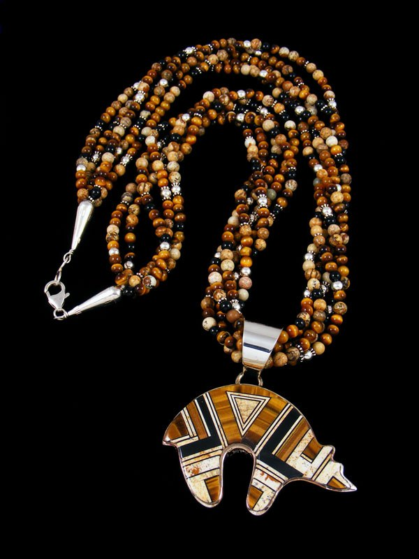 Navajo Tiger Eye Inlay Reversible Bear Pendant Necklace