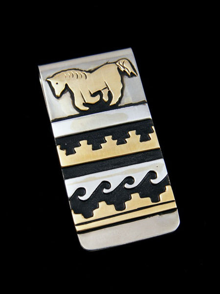 Native American Sterling Silver and Gold Overlay Money Clip