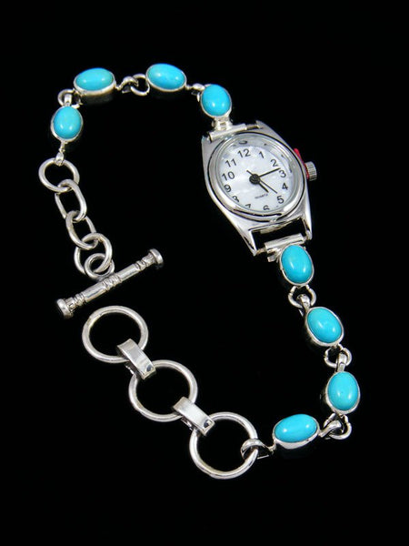 Native American Indian Sterling Silver Turquoise Ladies' Link Watch