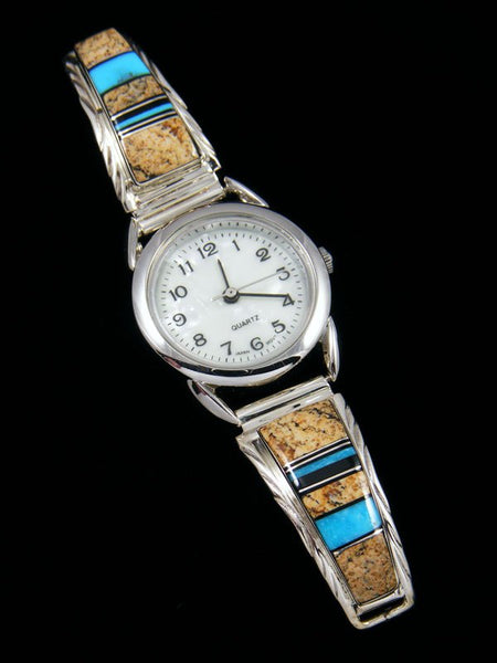 Native American Jewelry Jasper and Turquoise Inlay Ladies' Watch