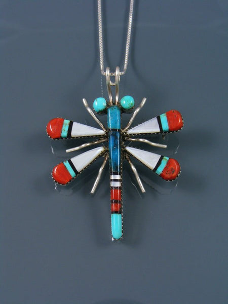Native American Sterling Silver Zuni Inlay Dragonfly Pin Pendant