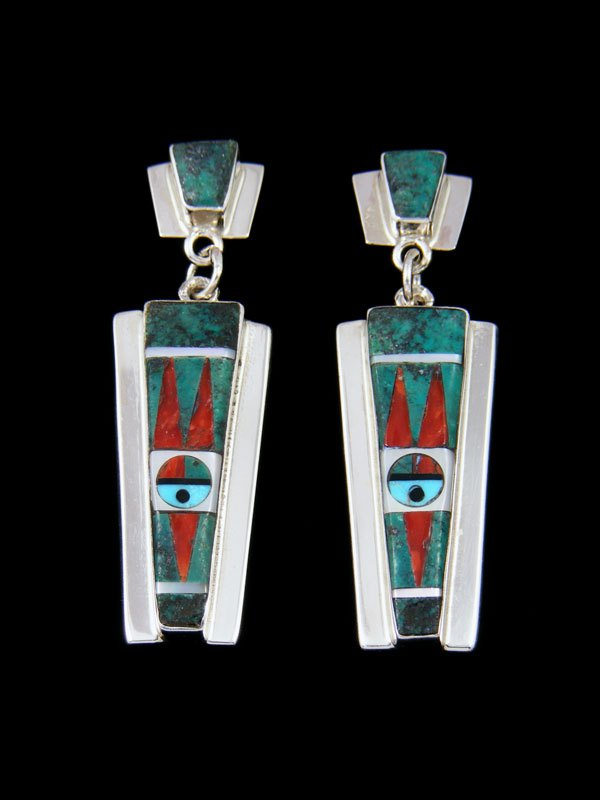 Sterling Silver Zuni Inlay Sunface Post Earrings