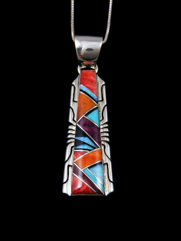 Navajo Inlay Turquoise and Spiny Oyster Pendant