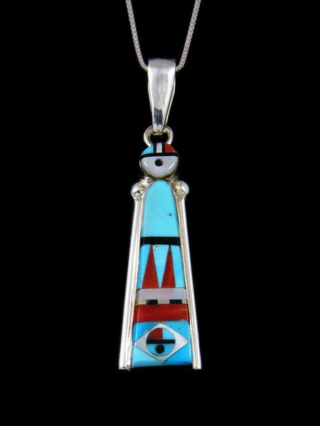 Native American Sterling Silver Zuni Inlay Turquoise Sunface Pendant