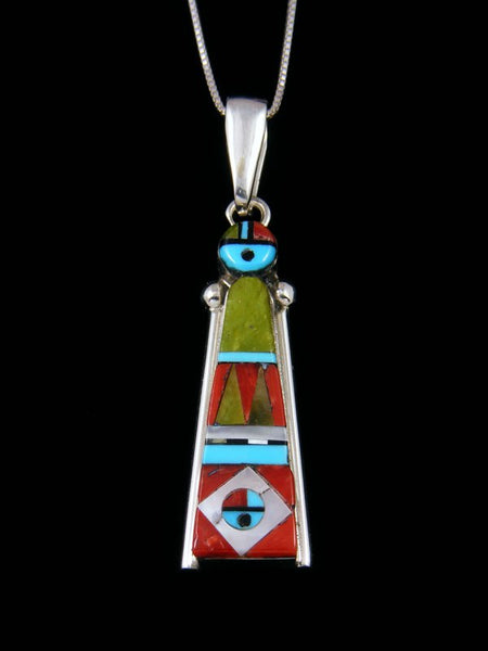Native American Sterling Silver Zuni Inlay Serpentine Sunface Pendant