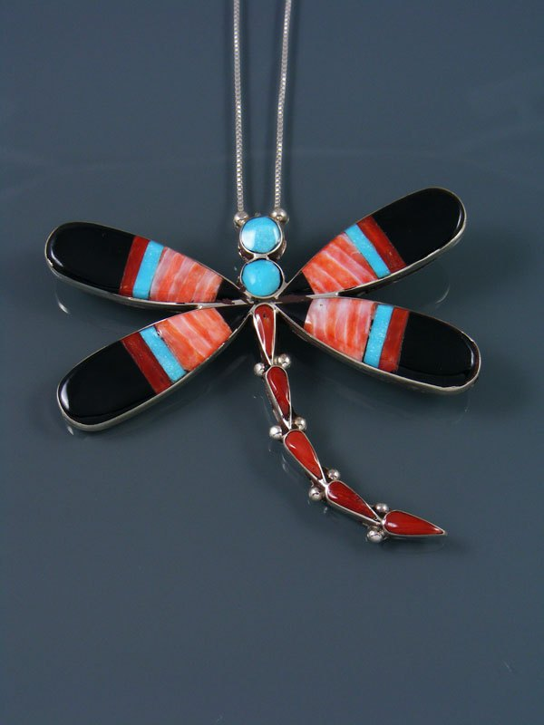 Native American Zuni Inlay Spiny Oyster Dragonfly Pin Pendant