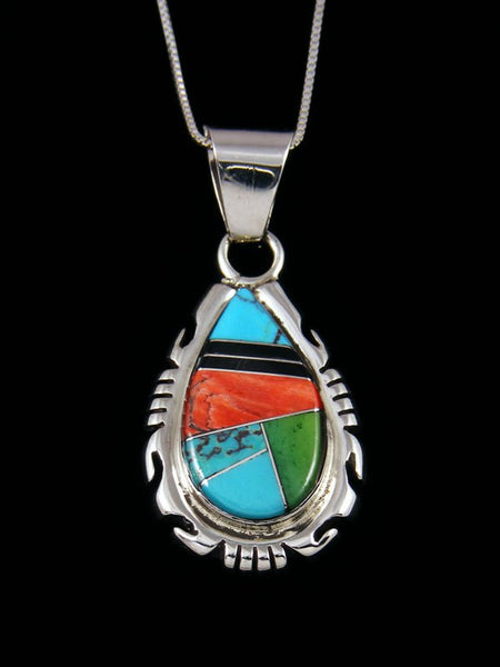 Sterling Silver Turquoise and Spiny Oyster Navajo Inlay Pendant