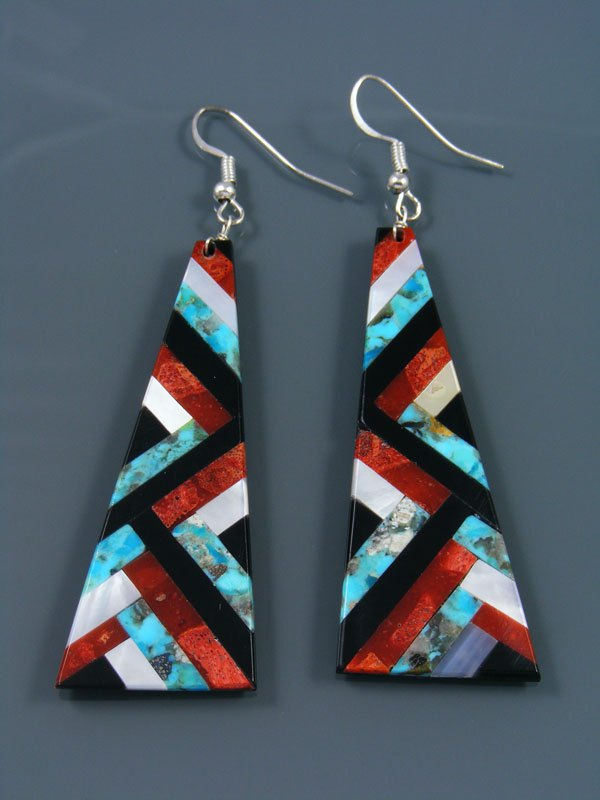 Turquoise and Apple Coral Mosaic Santo Domingo Inlay Earrings