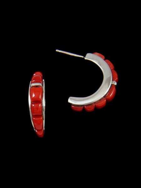Navajo Red Coral Cobblestone Half Hoop Inlay Post Earrings