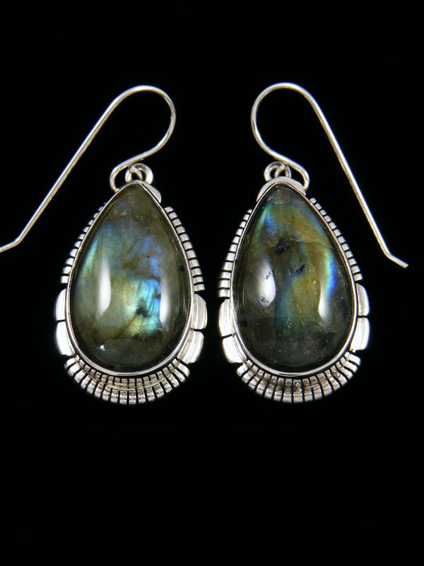 Navajo Labradorite Sterling Silver Dangle Earrings