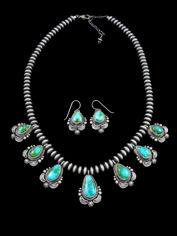Sonoran Gold Turquoise Tear Drop Necklace and Earring Set