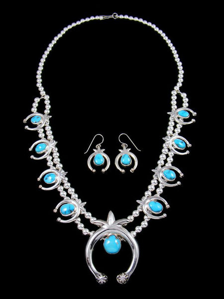Native American Kingman Turquoise Squash Blossom Necklace and Earrings Set