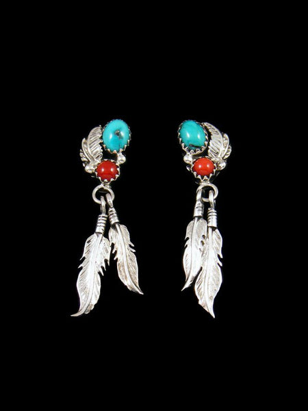 Navajo Turquoise and Coral Double Feather Post Earrings