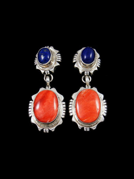 Navajo Lapis and Spiny Oyster Post Earrings