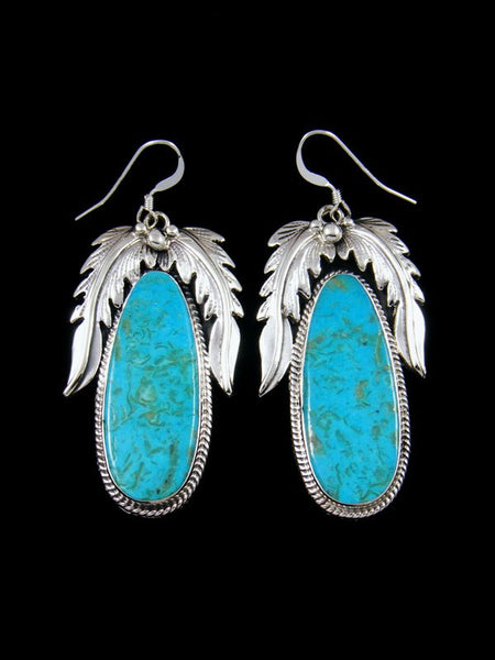 Navajo Sculpted Leaf Turquoise Dangle Earrings