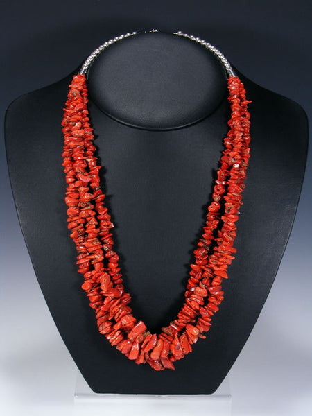 Native American Indian Three Strand Natural Coral Beaded Necklace