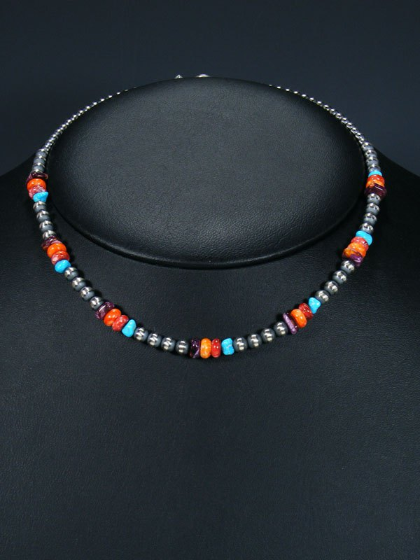 Native American Turquoise, Spiny Oyster and Silver Bead Necklace