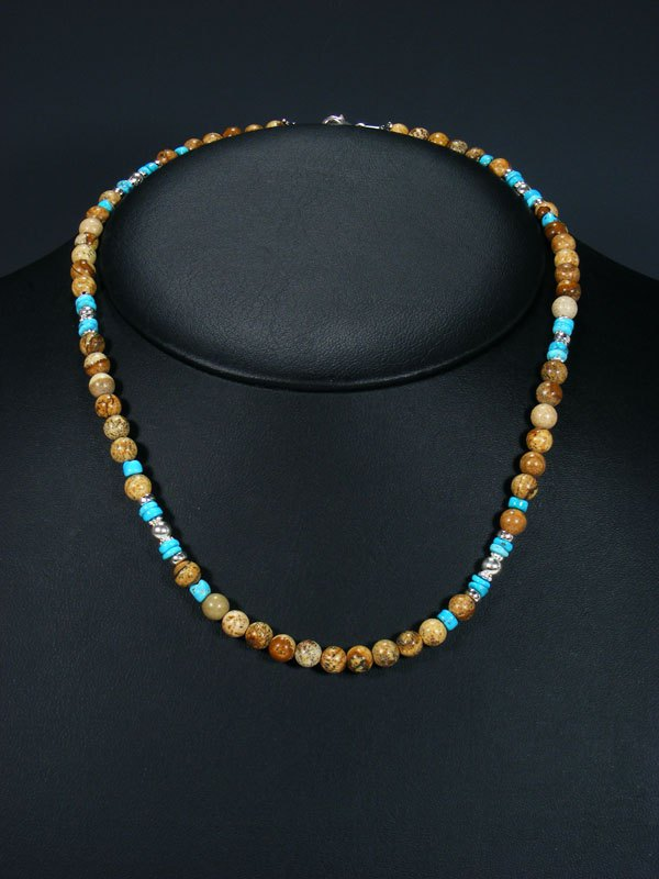 Native American Jasper and Turquoise Bead Necklace
