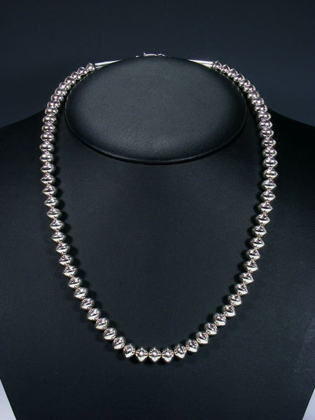 "22"" Native American Sterling Silver Navajo Pearl Bead Necklace"
