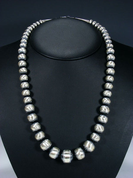 "24"" Native American Oxidized Sterling Silver Navajo Pearl Bead Necklace"