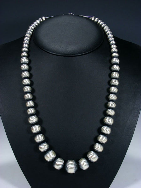 "26"" Native American Oxidized Sterling Silver Navajo Pearl Bead Necklace"