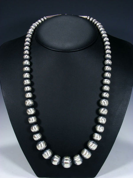 "28"" Native American Oxidized Sterling Silver Navajo Pearl Bead Necklace"