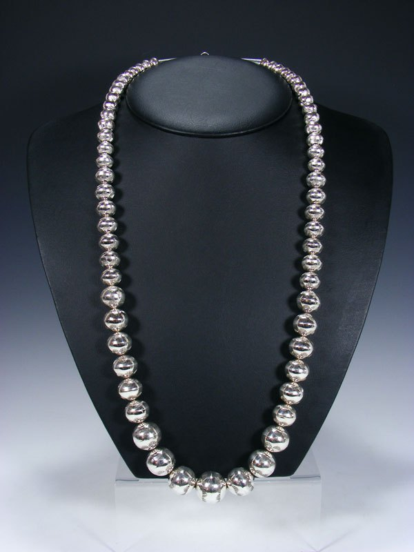 "30"" Native American Sterling Silver Navajo Pearl Bead Necklace"
