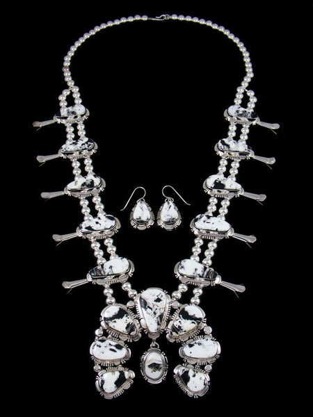 Navajo White Buffalo Sterling Silver Squash Blossom Necklace Set