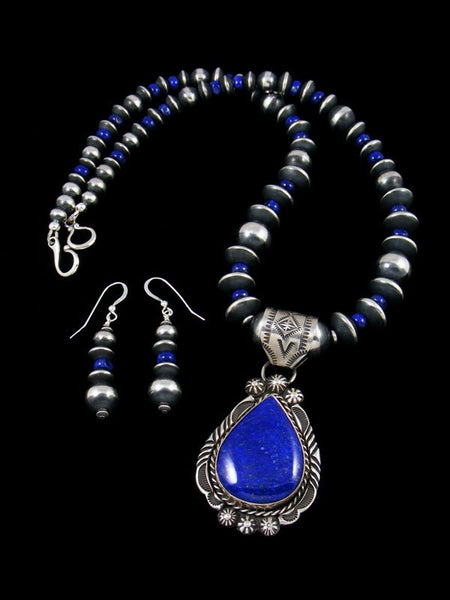 Native American Lapis Beaded Necklace Set