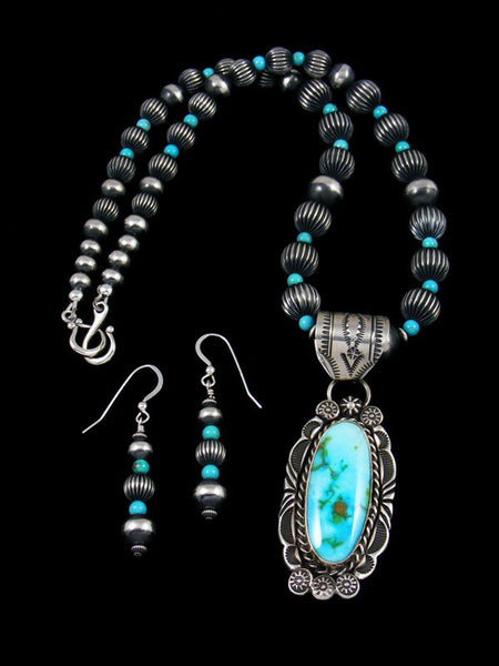 Native American Sonoran Rose Turquoise Beaded Necklace Set