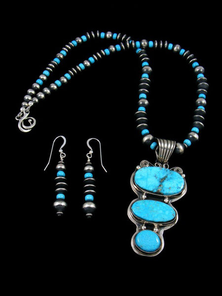 Native American Sterling Silver Kingman Turquoise Beaded Necklace Set
