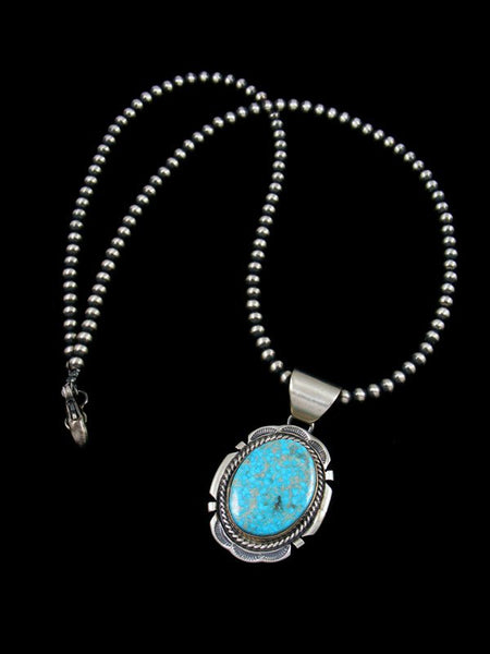 Native American Sterling Silver Kingman Turquoise Pendant with Beaded Necklace