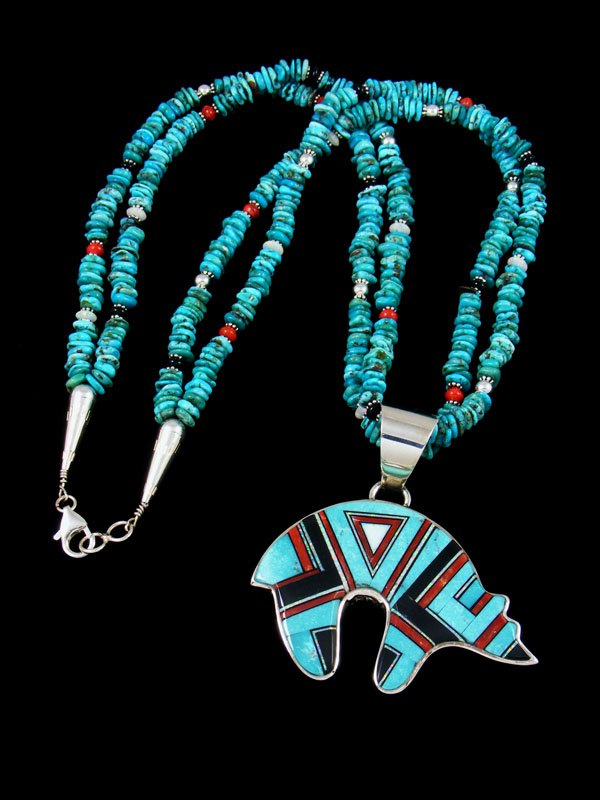 Navajo Turquoise and Coral Inlay Reversible Bear Pendant Necklace
