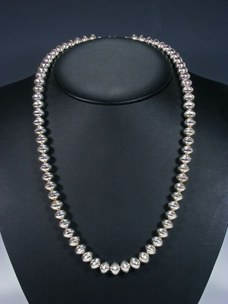 "24"" Native American Sterling Silver Navajo Pearl Bead Necklace"