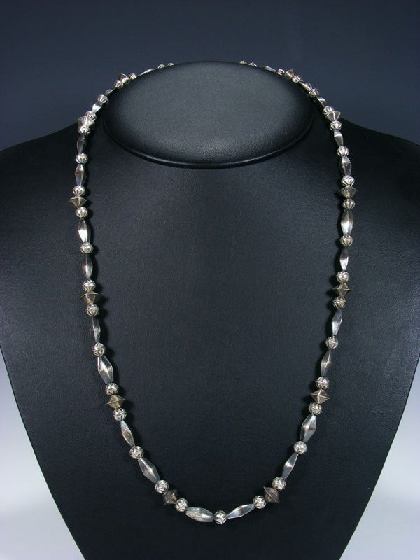 "26"" Native American Sterling Silver Navajo Handmade Bead Necklace"