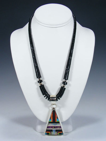 Native American Indian Santo Domingo Jet Necklace with Pendant