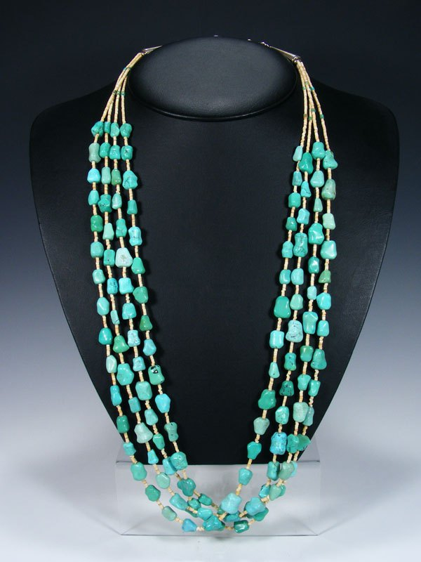 Native American Four Strand Turquoise Nugget Necklace