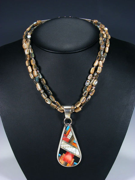 Native American Indian Santo Domingo Abalone Necklace with Pendant