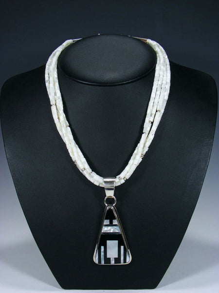 Native American Indian Santo Domingo Mother of Pearl Necklace with Pendant