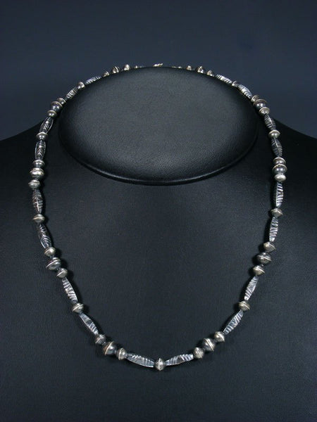 "22"" Native American Sterling Silver Navajo Handmade Bead Necklace"
