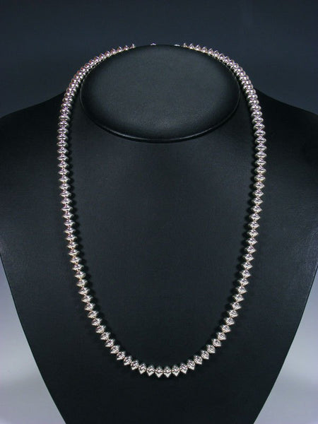 "24"" Native American Single Strand Sterling Silver Bead Necklace"