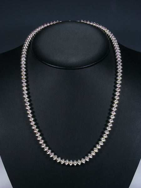 "22"" Native American Single Strand Sterling Silver Bead Necklace"