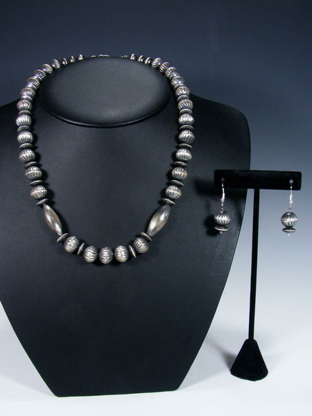 Native American Sterling Silver Navajo Handmade Bead Necklace Set