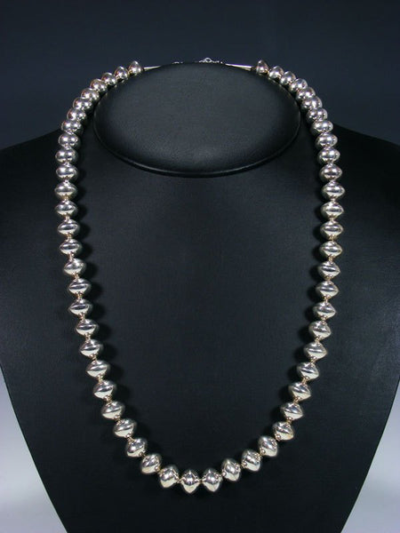 "25 1/2"" Native American Sterling Silver Bead Necklace"