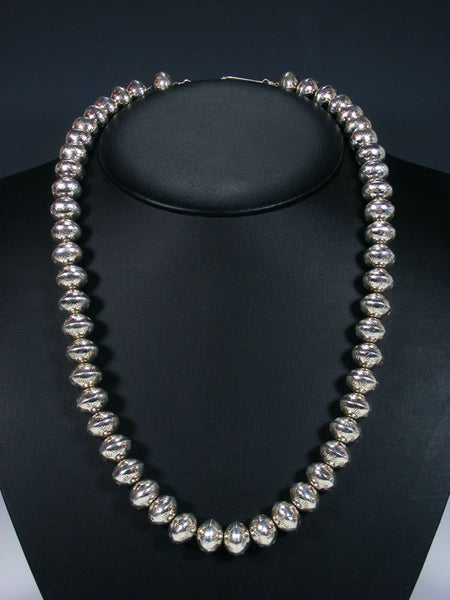 "24"" Native American Sterling Silver Bead Necklace"