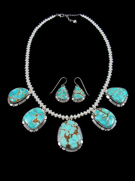 Native American Number Eight Turquoise Necklace and Earrrings Set