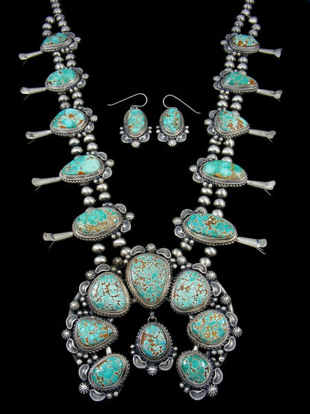 Number Eight Turquoise Sterling Silver Squash Blossom Necklace Set